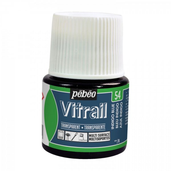 Pebeo Vitrail Transparent Glass Paint - 54 Indigo Blue