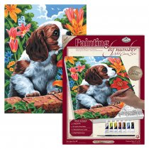 R&L Artist Canvas A4 - 7 Puppy & Flowers