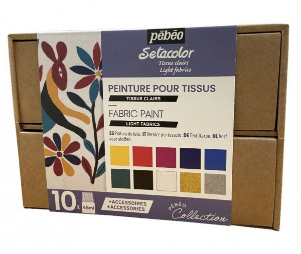 Pebeo Setacolor Light Fabrics Workbox Set 10 x 45 ml.