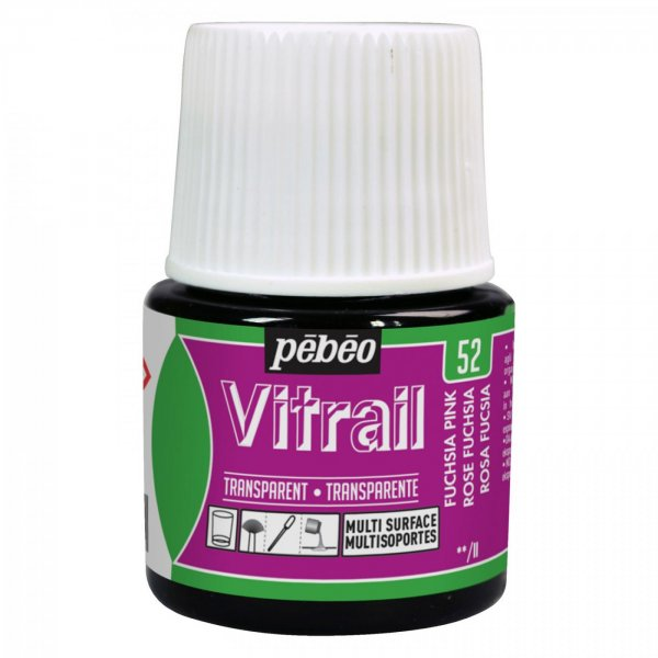 Pebeo Vitrail Transparent Glass Paint - 52 Fuchsia Pink