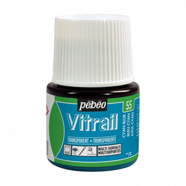 Pebeo Vitrail Transparent Glass Paint - 55 Cyan Blue