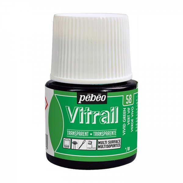 Pebeo Vitrail Transparent Glass Paint - 58 Vivid Green