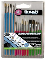 R&L Assorted Acrylic Handle Natural Brush Set - 15 Pack